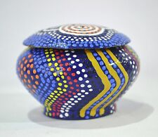 aboriginal Wooden Trinket Box Australian Made Timber Oval Shaped Hand Painted