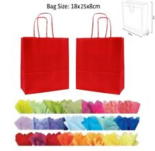 20 x 18 x 8 cm Red Paper Party Gift Bags - Wedding Favour gift Bag & Tissue