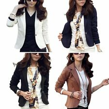 AU Women Slim Long Sleeve Outwear Suit OL Blazer Lady Short Jacket Coat Tops