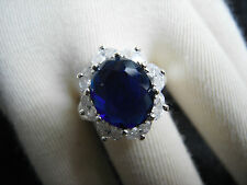 Austrian Blue Oval Clear Crystal/Beads Flower Crystal Gold Ring 4 choices