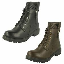 Spot On Ladies Lace Up Military Style Ankle Boots