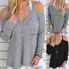 New Women Casual Off Shoulder Loose Spaghetti Strap Long Sleeve Top HE8Y