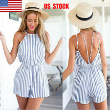 US Women Sling Backless Striped Casual Beach Short Mini Jumpsuit Romper Playsuit