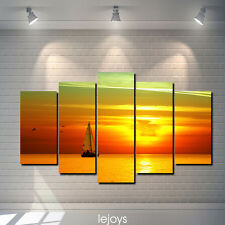 Oil Painting HD Canvas Print Home decoration Wall Beautiful sunset scenery 5pcs