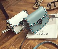 Womens rivet square mini shoulder bags cross body single chain recreational bag