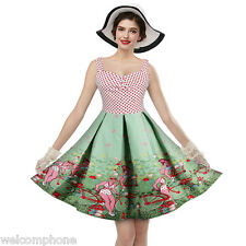 Womens Vintage 1950's Style Floral Polka Dot Cocktail Evening Party Swing Dress