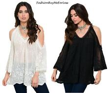 Hippie Boho Bohemian Gypsy Victorian Embroidered Lace Blouse Tunic Top S M L XL