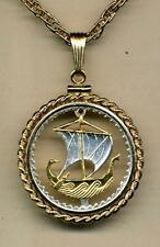 "Cyprus 5 Mils Silver & Gold Plated 18"" or 24"" (cut Ship) Coin Necklace 3 Styles"