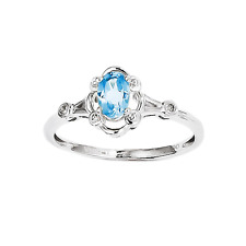 925 Sterling Silver Blue Topaz and Diamond Oval Shape Solitaire Ring - 0.486cttw