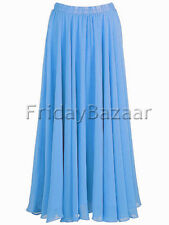 Steal Blue | Chiffon 2 Layer Reversible Long Skirt Full Circle S~3XL | 25 Color