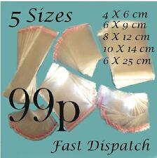 99 p Clear Cello Cellophane Display bags Self Adhesive Peel & Seal 5 sizes