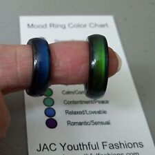 Natural Magnetic Hematite Mood Finger Ring Size 6 7 8 9 Colorful Mood Chart