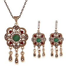1 Set Fashion Women Retro Rhinestones Drop Dangle Earrings Ethnic Necklace