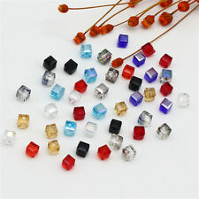 Cube Spacer Beads DIY Square Crystal 10Pcs Faceted Loose Glass 4mm/6mm