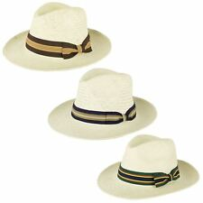 Mens Ladies Quality Straw Unisex Fedora Hat With Striped Grosgrain Band