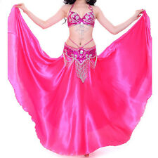 NEW Bollywood Belly Dance Costume Outfit Set Bra Top Belt Hip Scarf Satin Skirt