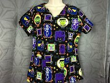 Womens Halloween black nurse Scrub Top  xs S, L, 2X Frankenstein & ghouls print