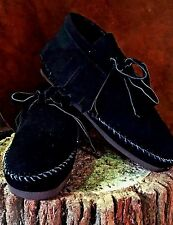 Pawnee Style Moccasins low boot Western Indian Black Suede Handmade/sewn Black