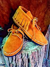 Pawnee Style Moccasins low boot Western Indian Black Suede Handmade/sewn Saddle