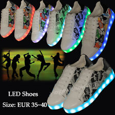 Unisex LED Light Up Casual Shoes Luminous Lace Sneaker For Men Women Night Party