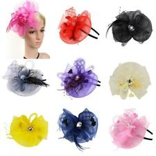 Lady Fascinator Hat Headband Veil Feather Wedding Cocktail Party Costume