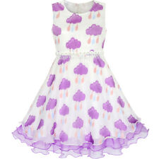 Sunny Fashion Girls Dress Purple Raining Cloud Ruffle Skirt Party Size 4-14