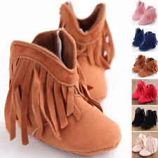 Infant Newborn Baby Girl Soft Sole Boots Toddler Tassel Moccasin Crib Shoes 0-18