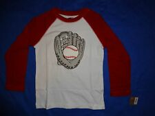 NWT Crazy 8 LONG SLEEVE red/white BASEBALL GLOVE catching ball shirt BOYS S 5/6