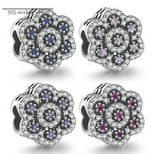 Charm Beads Sterling 925 Silver Flower Beads Fit  Charm Bracelets & Necklace