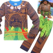 Kids Boys Girls Moana Maui Polynesia Long Sleeve Sleepwear Cartoon Pajamas Set