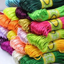 Hot 20m 2mm Chinese Knot Satin Nylon Braided Cord Macrame Beading Rattail Cord
