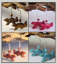 SQUIRREL Gemstone Fetish Animal Earrings * Your Choice of stone