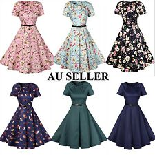 Women Vintage 50s 60s Floral Rockabilly Swing Evening Cocktail Party Dress