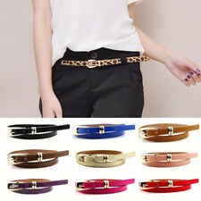 Women Lady Thin Skinny Waistband Belt Hogskin Leather Candy Color Narrow Fast
