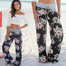 Women Floral Soft Yoga Gym Sport Wide Leg Beach Casual Loose Long Pants Trousers