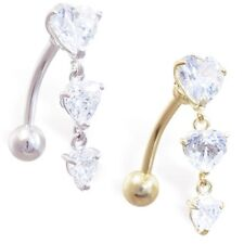 Belly Button Ring 14K Gold with Triple Heart Clear CZ Dangle