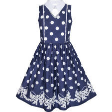 Girls Dress Blue White Polka Dot Bow Tie Collar School Uniform Size 6-14