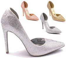 LADIES WOMENS WEDDING HIGH HEEL DIAMANTE PARTY PROM PUMPS COURT SHOES SIZE