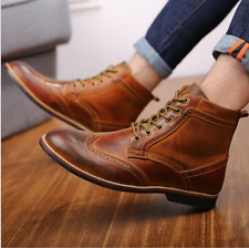 New Mens Vintage Carved Brogue Shoes Wingtip Lace Up High Top Casual Ankle Boots