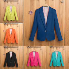 Stylish Women Casual Slim Solid Suit Blazer Jacket Candy Color Outwear Coat S-XL