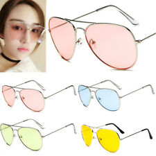 Retro Unisex Women Men Vintage Aviator Transparent Sunglasses Glasses Eyewear ty