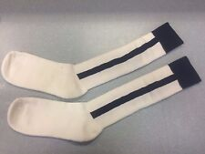 Pearsox Athletic All In One Knee High Stirrup Socks - White/Navy Blue