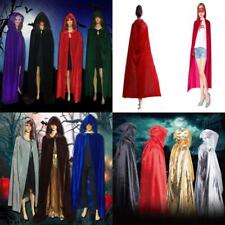 Halloween Gothic Velvet Hooded Medieval Witchcraft Cape Cloak Wicca Robe Costume