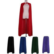 Adult Velvet Hooded Cloak Gothic Devil Ghost Medieval Wizard Cape Robe Costume