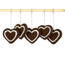 Felt holiday ornaments for Christmas tree, hanging gingerbread hearts in bulk