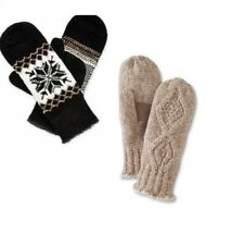 Isotoner Womens Knit Mittens Chenille Casual Lined One Size NEW