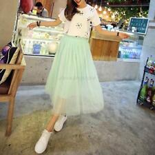 Womens Summer High Waist Long Skirt Tulle Skirts Elastic Waist Fluffy Tutu Skirt