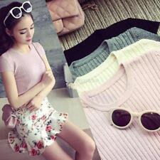 Lady Short Sleeve Knitted Blouse Top Crewneck Sweater Jumper Knitwear T-Shirt