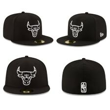 Chicago Bulls White On Black New Era 59FIFTY Fitted Hat