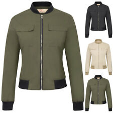 KK Women's Multi-Pocket Zip Stand Collar Lightweight Bomber Jacket Coat Tops New